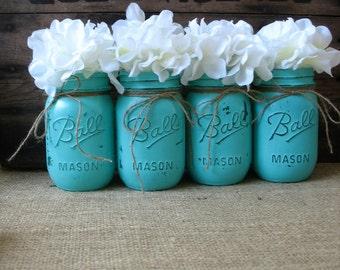 SALE! Set of 4 Pint Mason Jars, Painted Mason Jars, Rustic Wedding Centerpieces, Party Decorations, Turquoise Wedding