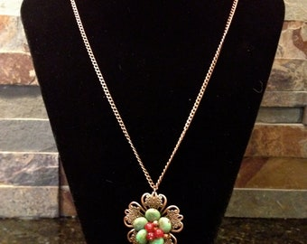 Turquoise and Copper Cluster Pendant Style Necklace with Antique Copper Chain and Flower Pendant