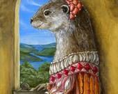 Renaissance Lady Otter Portrait fine art print