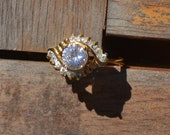 Vintage Cubic Zirconia and Gold Ring Size 9 Faux Diamond Engagement Ring Wedding Ring Cocktail Ring CZ Ring
