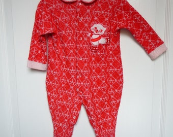 Vintage Baby Sleeper Suit with Cat Applique Great Condition
