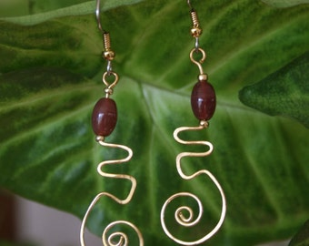 Brass Scroll Earrings