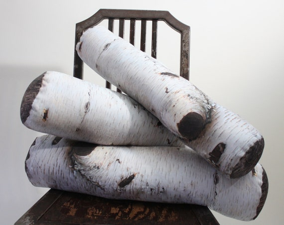 Birch Tree Log pillow - made to order - decorative pillow - log decor - woodland