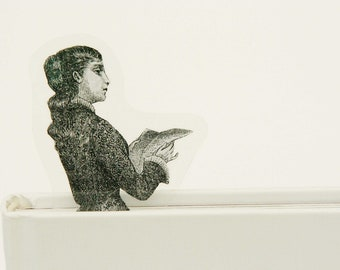 Reading Lady bookmark, from old Italian newspaper dated 1880