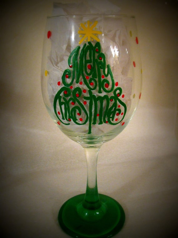 Items similar to merry christmas 20 oz hand painted wine for Christmas glass painting