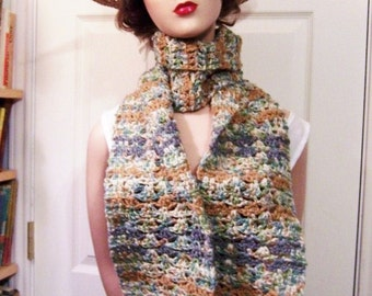 Hand Crocheted Scarf: Forest Greens and Brown Stripes - M0003