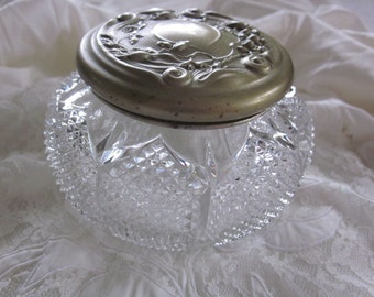signed Art Nouveau diamond cut GLASS VANITY JAR with repousee lid D3