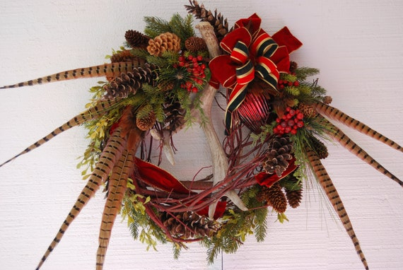 Christmas antler and pheasant feather wreath