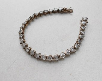 1950s bracelet  Silver 925 heart shaped rhinestones vintage mid century jewelry