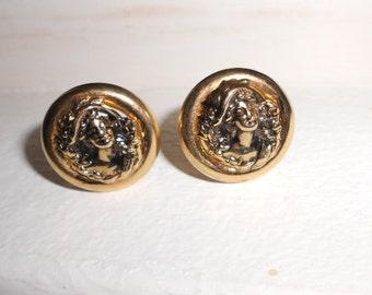 Vintage clip on earrings, 1980s jewelry  clip on Victorian woman motif