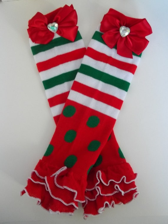 Sale christmas leg warmers in red green amp white stripes and pokla