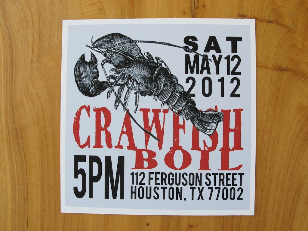 It is a picture of Adorable Crawfish Boil Invitations Free Printable