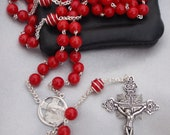 Smooth Red Coral Rosary with Handmade Chain