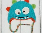 Boy crochet hat, Baby winter hat, Baby boy hat, Monster Crochet hat, Winter toque, 3 to 6 months