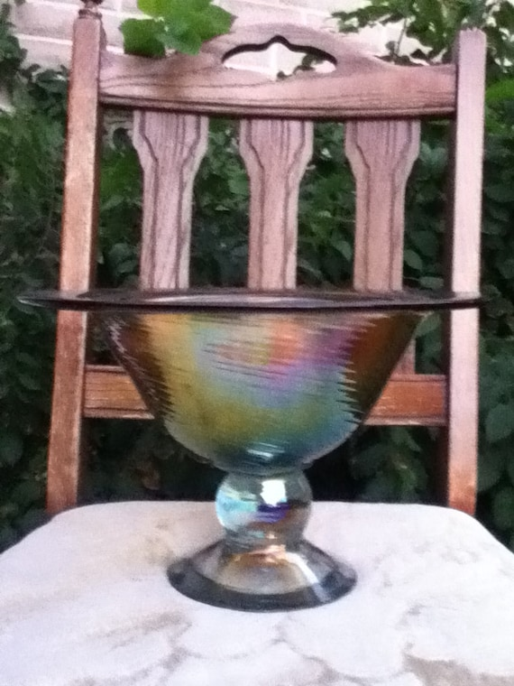 Items similar to large carnival glass centerpiece bowl
