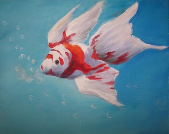 Original Oil Painting Little Fish