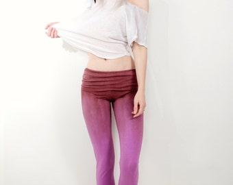 Purple ombre yoga leggings by OmBeautiful,  tie dye pants, festival gear, unique yoga leggings