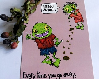 Zombie Missing you Love postcard