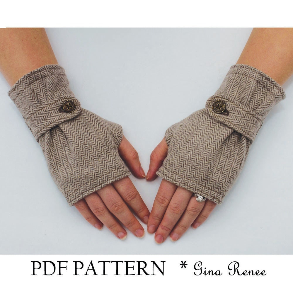 Fingerless Glove Pattern with Strap. PDF Glove Sewing Pattern.