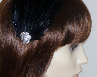 BLACK Feather and Crystal Fascinator HAIR CLIP Handmade Bridal Wedding Bridesmaids Hair Accessory