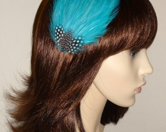 Turquoise Blue Fascinator HAIR CLIP Bridesmaids Hair Accessory Handmade Black White Wedding Headpiece 'Gwen'