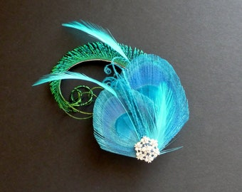 Turquoise Blue Green Peacock Feather Hair Clip Fascinator Crystal Wedding Bridal Bridesmaid Hair Accessory 'Evelyn'