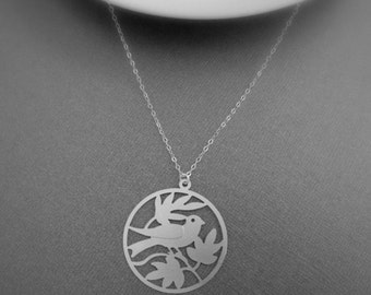 Bird and Leaves Charm Necklace in STERLING SILVER CHAIN--Perfect Gift for mom Birthday Present Gift for her for friends.