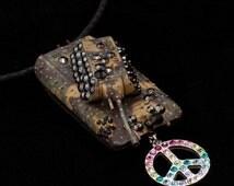 Peace Tank Necklace Camouflage Rainbow Kawaii Geek Nerd Neoncolor Pop Culture Jewelry UNIQUE