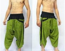 Ronnie Street Stuns Edition Samurai Pants green timber, Parkour Pants,Trouser, Baggy pants, Yoga 100% Cotton(Unisex) One Size Fit All...New