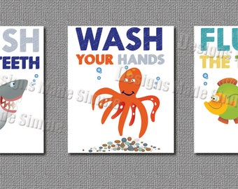 Cartoon Fish Signs for Childrens Bathroom  - Set of Three Printable -  Wash your Hands, Brush Your Teeth, Flush the Toilet- Instant Download