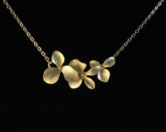 Triple orchid necklace , wild orchid necklace , Flower necklace matte gold , sideways orchid necklace , bridesmaid necklace
