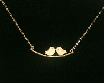 Love birds Necklace ,  twin birds pendant , birds on a branch necklace , Lovebird necklace , two bird necklace