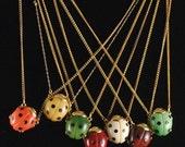 Ladybug Vintage Necklace 1960s Small GOOD LUCK Ladybug Pendant - ErikasCollectibles