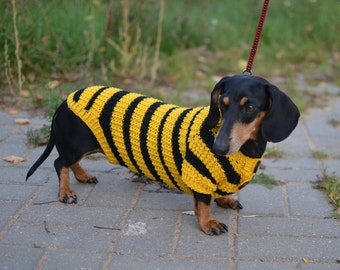 Dog Clothes dog sweater Bee  Clothes Hand Knitting dachshund Sweater for Pets