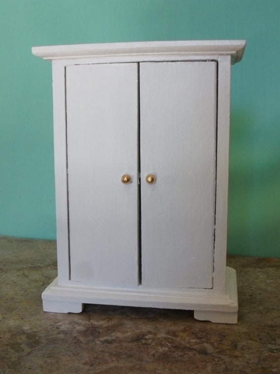 white painted wood dollhouse armoire closet miniature. Black Bedroom Furniture Sets. Home Design Ideas