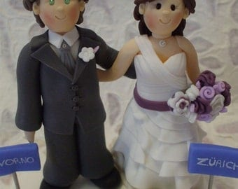 customized bride and groom with train personalized wedding cake topper