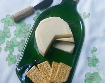 Large Slumped Melted Bottle - Cheese Platter - Melted Wine Bottle Serving Tray -Slumped Glass Dish - Recycled Bottle Hors d'Oeuvres Platter