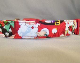 Happy Santa Claus Red Christmas Dog Collar