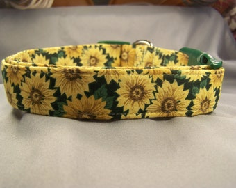 Yellow Sunflowers on Green Dog Collar