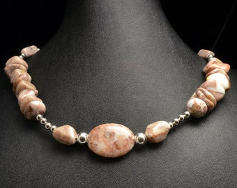 Fancy Red Line Marble and Silver Plated Bead Necklace