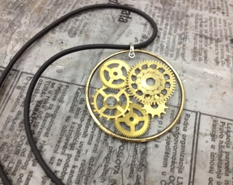 Just WHEELS- Steampunk jewelry -necklace-