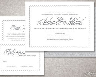 "Classic ""Michael"" Wedding Invitations Suite - Beautiful Modern Clean Elegant Traditional Invitation - Digital Printable or Printed Invite"