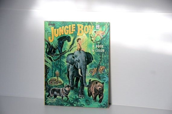 Vintage Jungle Boy Coloring Book 1967 Christmas gift Baalfield A Book to Color Cool Moms Teachers Resource for photocopying