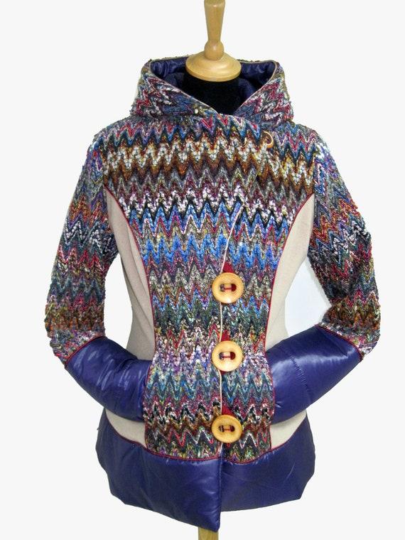 Missoni fabric padded hooded jacket