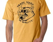 "Large Men's T-shirt with ""Trade Mark of Quality"" logo - Honey - Available for immediate shipping"