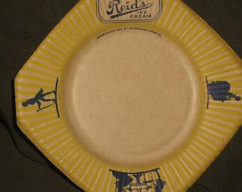 Rare cardboard Reid's Ice Cream Plate