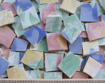 Hand Cut Broken China Tiles for Mosaic - Pastel Florals