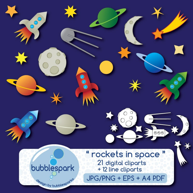 Rockets in Space digital clip art and line art contains