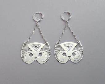"""Earrings """"TOTEM OWL"""" silver"""