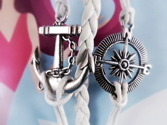 Anchor Compass Bracelet - White Anchor Charm Bracelet for Navy Girlfriend, Ocean Bracelet with Silver Compass Charms, Sailor Bracelet